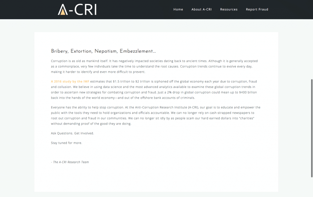 A-CRI Website Home Page