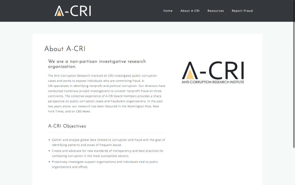 A-CRI Website About Page
