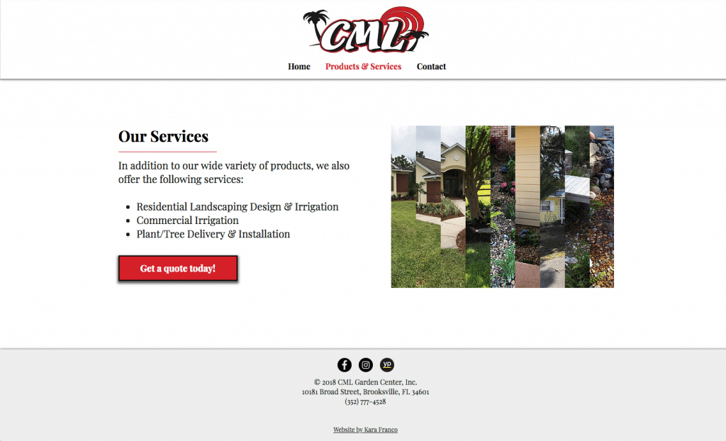CML Garden Center Services Page