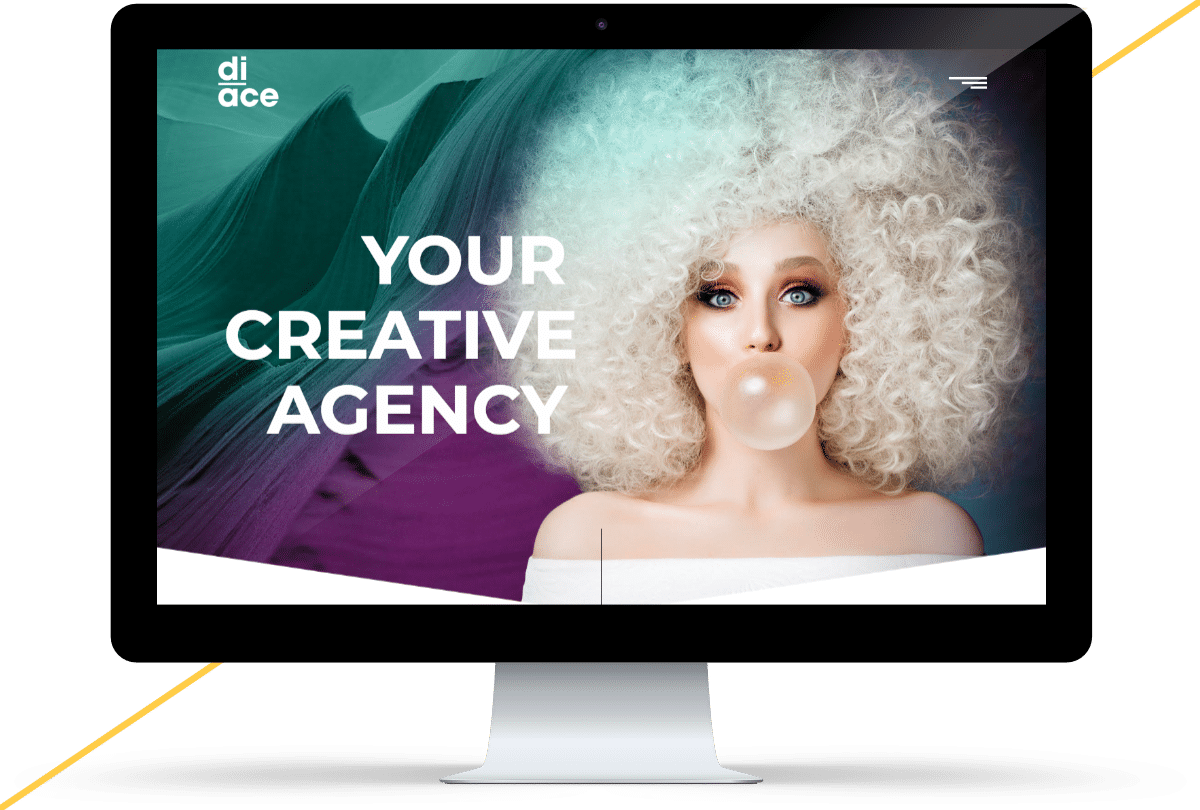 iMac mockup of the Diace Designs website