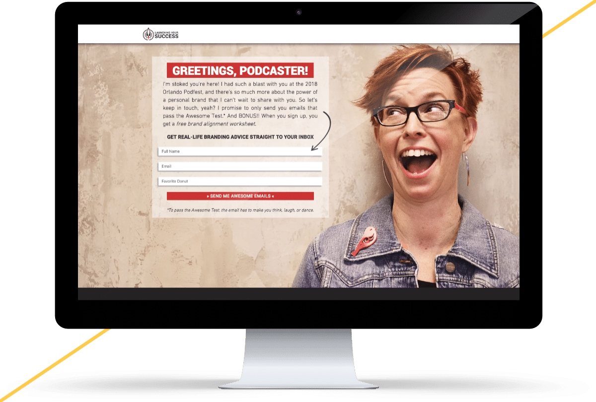 iMac mockup of the Launching Your Success Podfest 2018 landing page