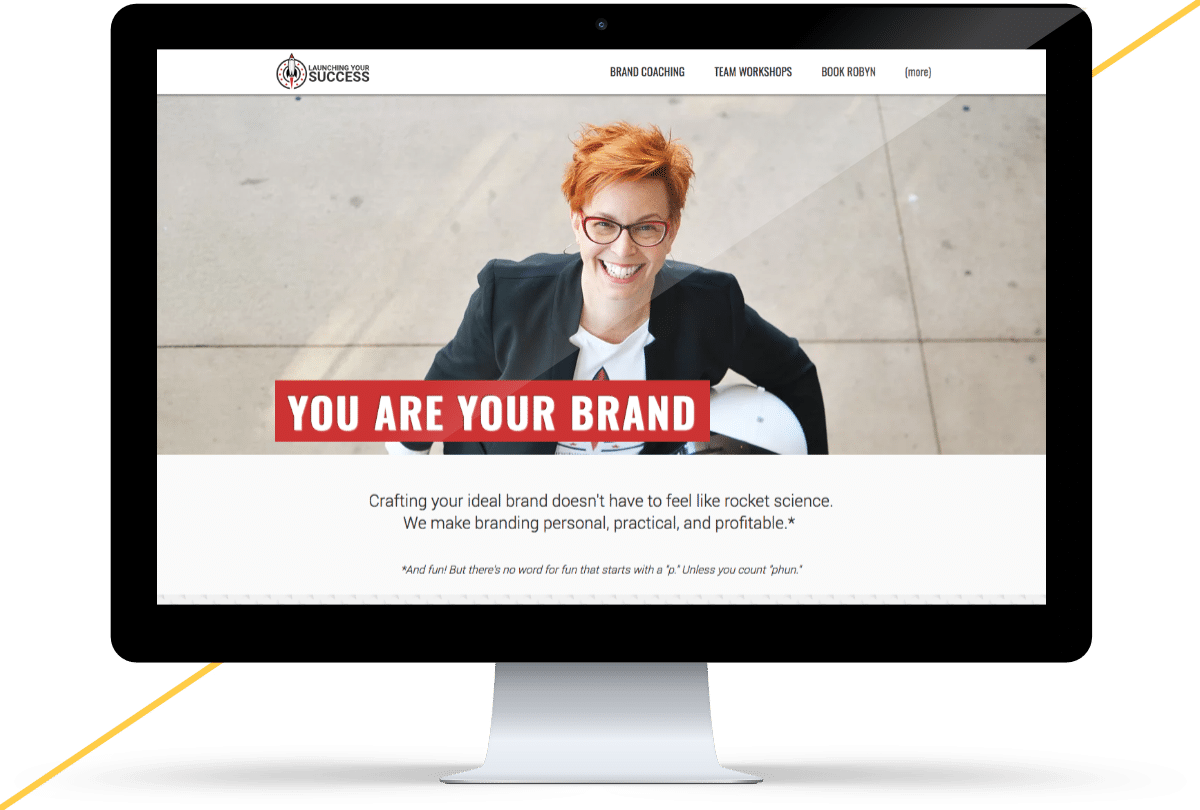 iMac mockup of the Launching Your Success website