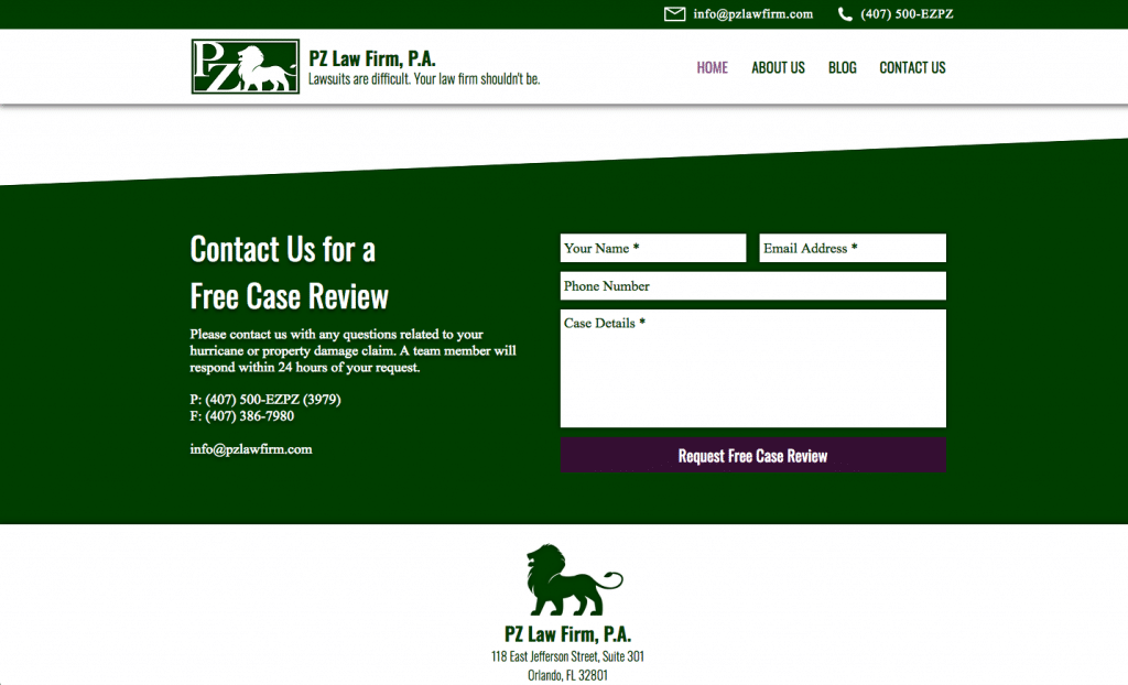 PZ Law Firm Contact Form