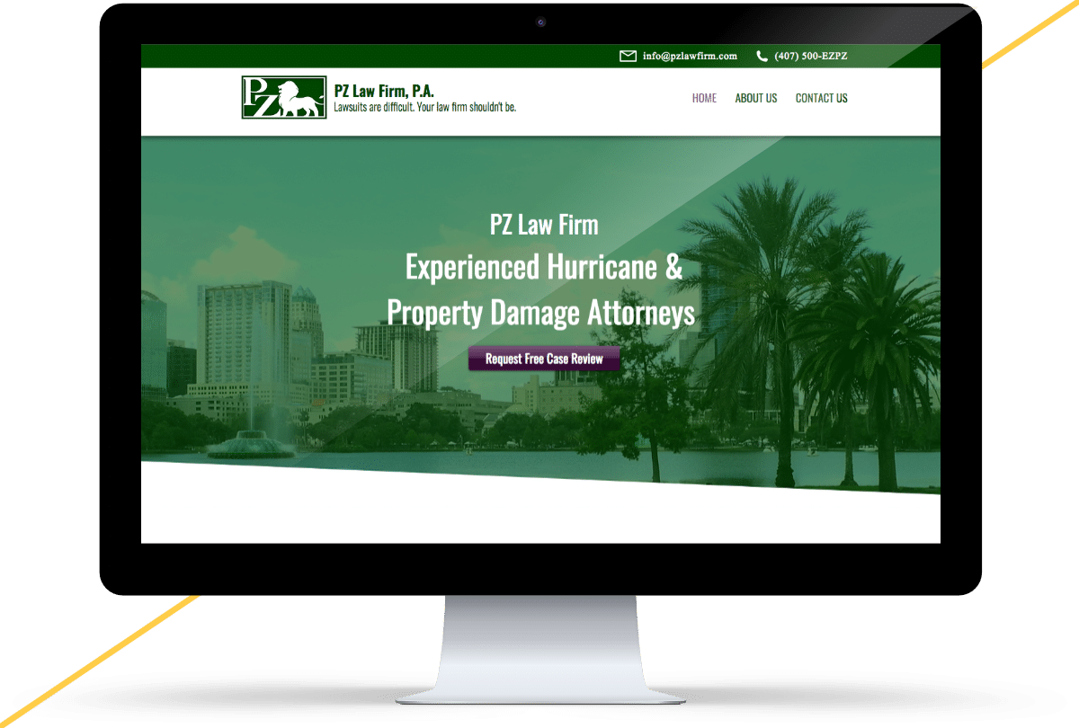 iMac mockup of the PZ Law Firm website