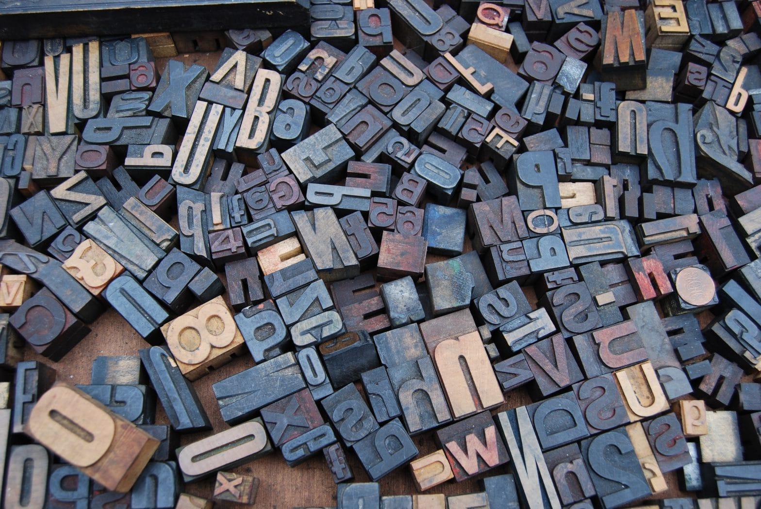 "assorted letterpress printing blocks -- click to read blog post, ""A Manifesto"""