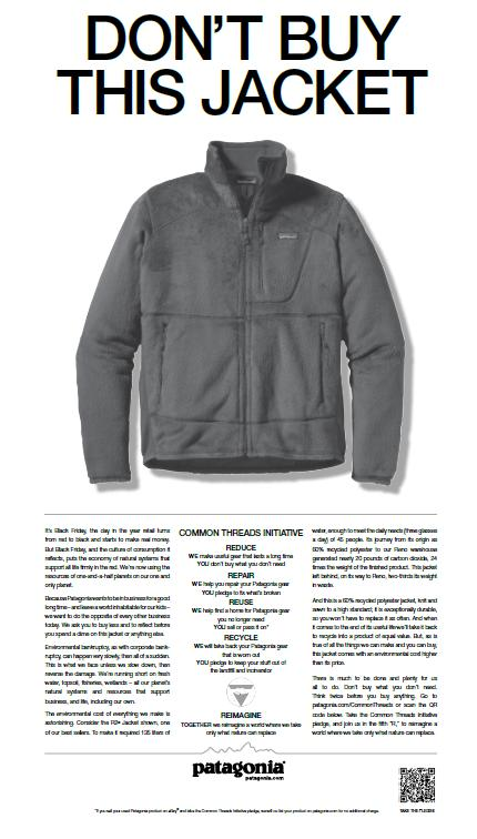 "Patagonia's ""Don't Buy This Jacket"" advertisement as featured in the New York Times"